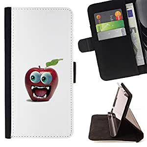 BullDog Case - FOR/Samsung Galaxy S4 IV I9500 / - / Funny Big Eye Apple /- Monedero de cuero de la PU Llevar cubierta de la caja con el ID Credit Card Slots Flip funda de cuer