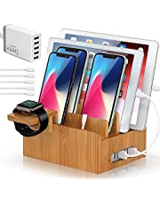 BEEBO BEABO Bamboo Charging Station, Wood Holder Docking Stand, Cell Phone Charging Stations Compatible with Phone, Watch, Pad, Tablet (Include 5 Port USB Charger, 5 Charger Cables and Watch Stand)