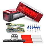 MICTUNING LED Trailer Light Kit 12V Stop/Tail/Turn Signal Lights with License Plate Bracket 4 Pin Connector Wiring Harness, Submersible Rectangular Low Profile Lights for Boat Trailer Truck RV Marine