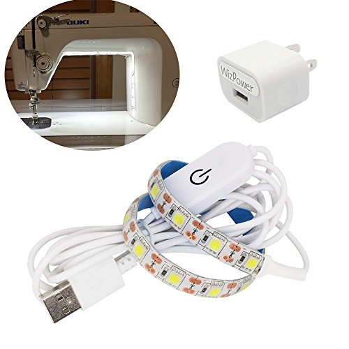 Wizpower Sewing Machine LED Strip Light, 11.87″ Cold White Lighting with 6.6ft cord Touch Dimmer and USB Power, Flexible 3M Adhesive Tape Fits All Sewing Machines
