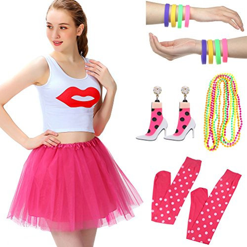 Women's 80s Fancy Outfit Costume Accessories Set Adult Tutu Skirt Long Socks Fishnet Gloves Neon Earrings Beads (A) (Fancy Dress Outfits Women)