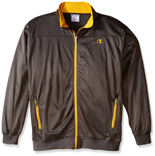 Champion Men's Big-Tall Tricot Track Jacket Chest, Charcoal/Yellow, 2X/Tall