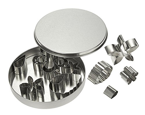12 Piece Set Stainless Steel Fondant Cookie Cutters / Sugarpaste Flower Cutters - Flower and Leaf Floral Shapes for Baking, Dessert Design, Molding, Cake Decoration and More - Silver