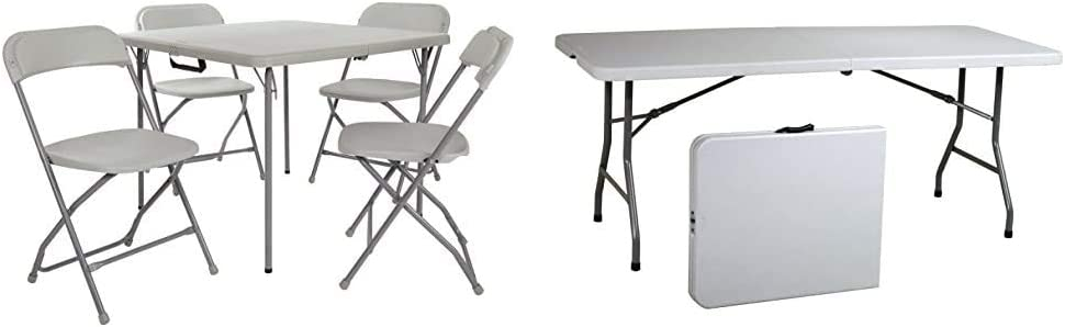 Office Star Table and Chair Set, Light Grey & Resin Multipurpose Rectangle Table, 6-Feet, Center Folding