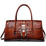 8555d075bd PIJUSHI Womens Top Handle Handbags and Purses Crocodile Bags for Laides  (68031 Brown)