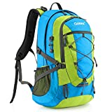 Gonex 40L Backpack for Hiking Camping Outdoor Trekking Daypack, Waterproof Backpack Cover included (Blue+Green)