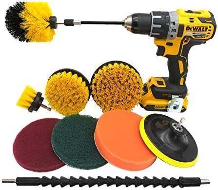 All purpose Scrub pad Boats,Watercraft Canoes 10 piece Drill Brush Attachment Set Power Scrubber Drill Brush Kit Scrubing Pads Cleaning Kit For Tile,Floor,Bathroom
