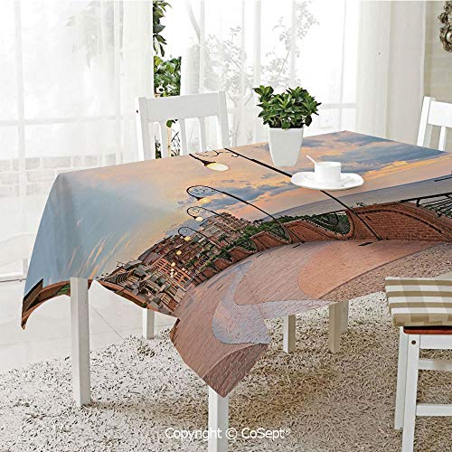 SCOXIXI Polyester Tablecloth,Dawn at Ortona Abruzzo Italy Terrace View on The Adriatic Sea,Fashionable Table Cover Perfect for Home or Restaurants(60.23