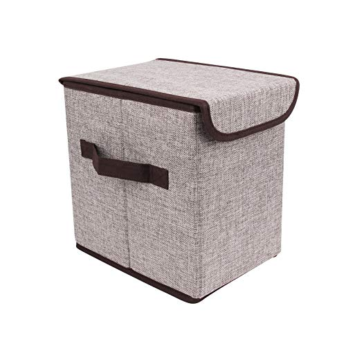 B10-1765 Storage Boxes Fabric Storage Box with Lids and Handles, Cloth Storage Bins Cubes Boxes Fabric Containers, Foldable Closet Organizer for Clothes,Toy, DVD, Books, Home, Office, Bedroom (Grey) ()