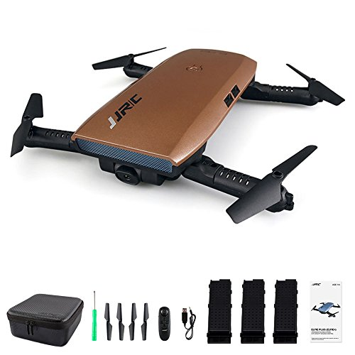 JJRC H47 Elfie WIFI Foldable Selfie Pocket Drone Mini Quadcopter with 720 Camera, 3 Batteries (Brown 3 batteries)