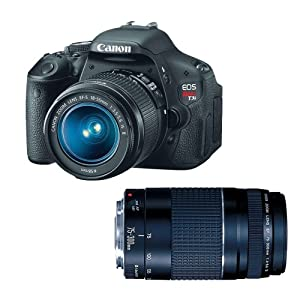 Canon EOS Rebel T3i 18 MP CMOS APS-C Sensor DIGIC 4 Image Processor Digital SLR Camera with EF-S 18-55mm f/3.5-5.6 IS Lens + Canon EF 75-300mm f/4-5.6 III Telephoto Zoom Lens from CANU9