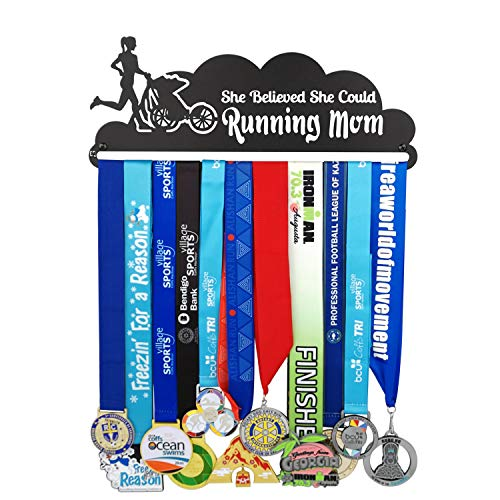 (California Goods Sports Medal Hanger Display Holder for 30 Medals Unisex Medal Hanger,Best Gifts Medal Display Honors Holder,Running mom Medal Hanger,1PC Wristband Pocket)