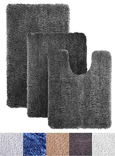 - Luxe Rug Dark Gray Plush Bathroom Rugs Bath Shower Mat Set w Non Slip Microfiber Super Absorbent Rug Alfombras para Baños (3, Dark Gray)