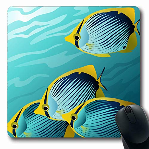 Ahawoso Mousepads for Computers Seawater Underwater Tropical Fish Ocean Aquarium Aquatic Dive Design Oblong Shape 7.9 x 9.5 Inches Non-Slip Oblong Gaming Mouse Pad