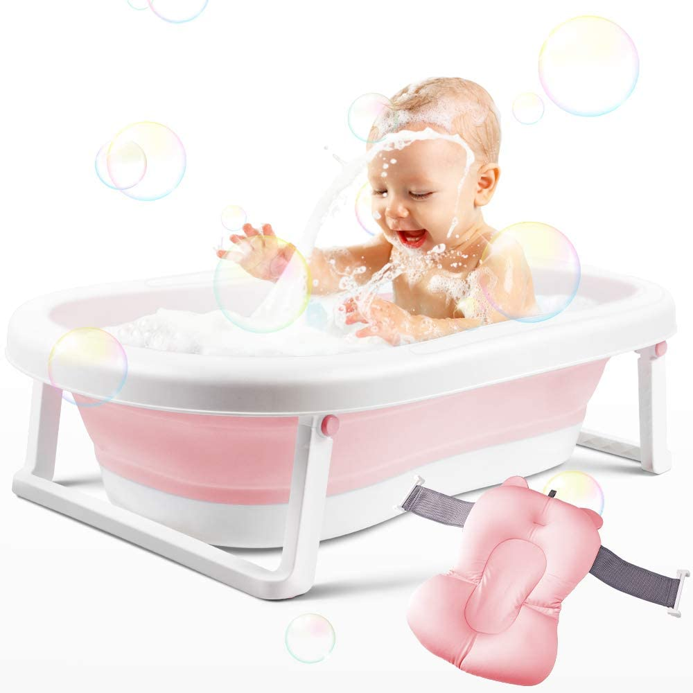 BEWAVE Baby Bathtub Pink Foldable Infant Bath Tub Collapsible Newborn Toddler Bathing Support with Cushion for 0-2 Years/'