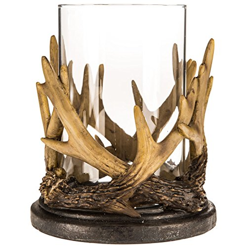 Tan Brown Resin Antler Clear Glass Cup LED Pillar Candle Holder