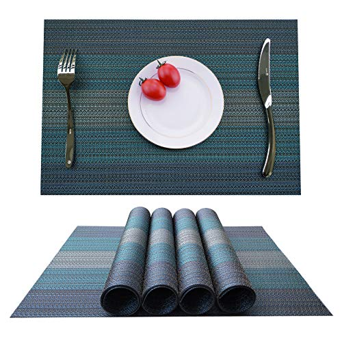 KOKAKO Placemats Heat-Resistant Dining Table Placemats Stain Resistant Anti-Skid Washable PVC Kitchen Table Mats Woven Vinyl Placemats,Set of 4 (Blue-Green)
