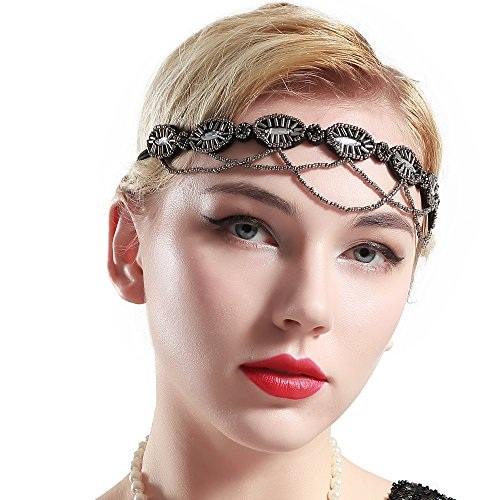 BABEYOND 1920s Flapper Headband Crystal Beaded Great Gatsby