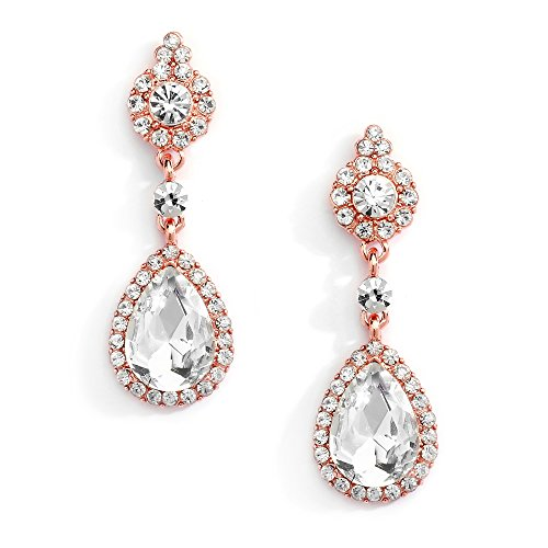 Mariell Rose Gold & Clear Crystal Teardrop Chandelier Dangle Earrings for Weddings, Prom & Bridesmaids - Gold Clear Crystal