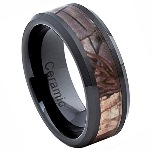 Noureda Sterling Silver Black Ceramic Polish Beveled Edge Ring With Forest Floor Foliage Camo Inlay, Ring Width of 8MM