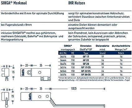 Gr/ö/ße 17 mm Sihga Holzterrassen-Montage Inhalt 50 St/ück GleitFix GF Sihgamid unsichtbare Verschraubung