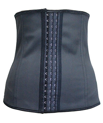 Women Latex Rubber Waist Trainer Cincher Underbust Corset Body Shaper Shapewear Black (7X-Large)