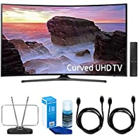 Samsung Curved 55 4K Ultra HD Smart LED TV (2017 Model) - UN55MU6500 w/ TV Cut The Cord Bundle Includes, Durable HDTV & FM Antenna, 2x 6ft. High Speed HDMI Cable & Screen Cleaner for LED TVs