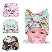 Xinshi Newborn Hat Soft Turban Baby Girl Big Bow Knot Cap (HC01 (3PCS))