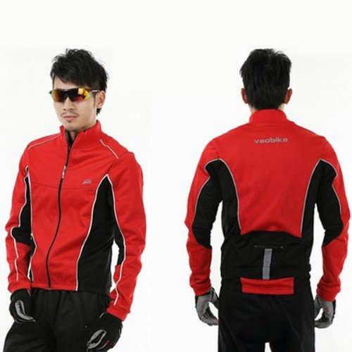 Cycling Long Sleeve Jacket Windproof Jacket Jersey Size XXL Color RED