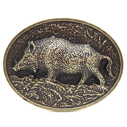 Brass Wild Boar Pig Hog Belt Buckle Native Western Cowboy (Boar Hog)