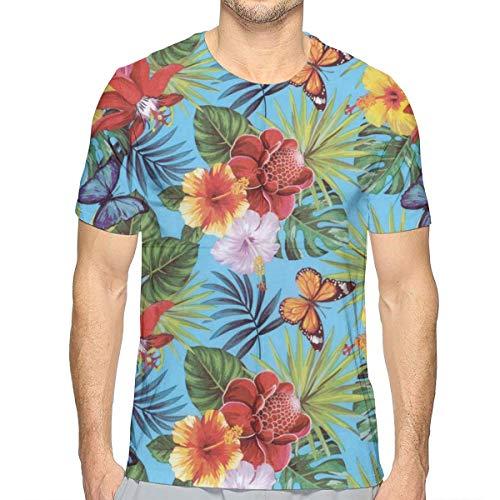 Lee T-shirt Hat - KIM LEES Flower Men's Round Collar for Teenagers Running White
