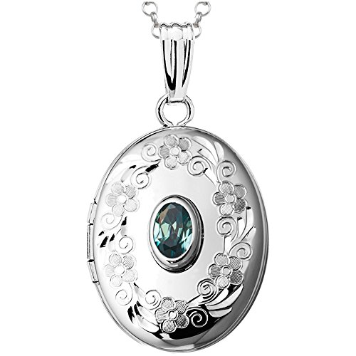 - Finejewelers Sterling Silver Oval Locket Pendant Necklace with Genuine Blue Topaz December Birthstone