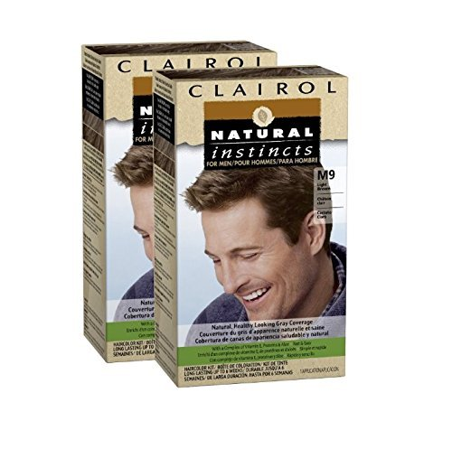 Clairol Natural Instincts for Men Hair Color, Light Brown (M9), 2 pk