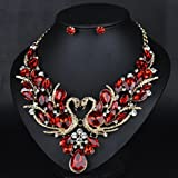 style10 red - Women Fashion Pendant Crystal Flower Choker Chunky Statement Chain Bib Necklace
