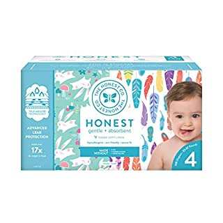 The Honest Company Super Club Box Diapers with TrueAbsorb Technology, Painted Feathers & Bunnies, Size 4, 120 Count