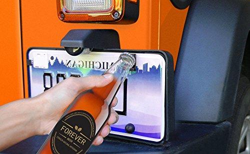 Picowe Jeep Bottle Opener, Rear License Plate Mounted Open Bottle Accessory fits Jeep Wrangler JK, JKU and TJ Models