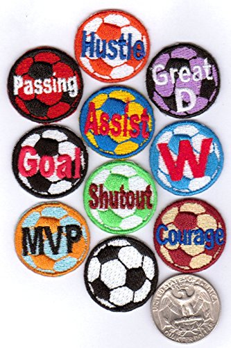- 20 Soccer Ball Patches (2 x 10-Packs) Design Variety Iron-on Backing Fully Embroidered