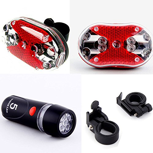 Dcolor Cycling Bicycle 5 LEDs Front Head light 9 LEDs Back Rear Flashlight Ultra Bright