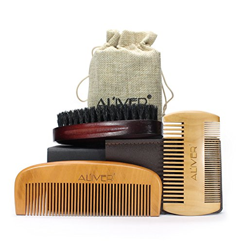 Beard Combs kit for Men Gift, Handmade Wooden Comb, Natural Boar Bristle Beard Brush for Styling and Shaping Mustache Care Gift Set - Best for Home & Travel