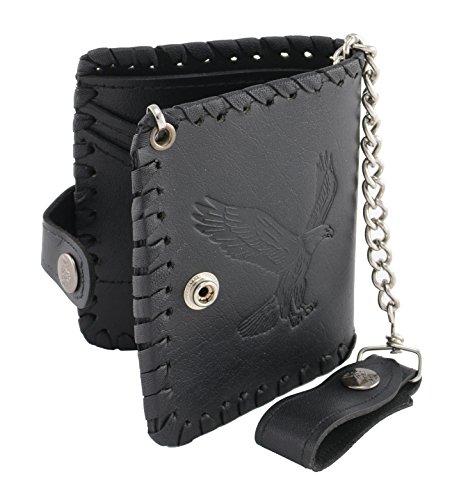 Milwaukee Leather MLW7800-PCS Black PCS Braided Biker Wallet with Steel - Wallet Leather Milwaukee