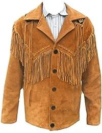 Mens Western Cowboy Leather Coat Fringes & Beads