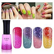 iLuve Long Lasting Soak Off Chameleon Temperature Colour Change Nail Polish with 60 Color Choices | 4 bottle with 12ml UV Gel Polish of Color #54034