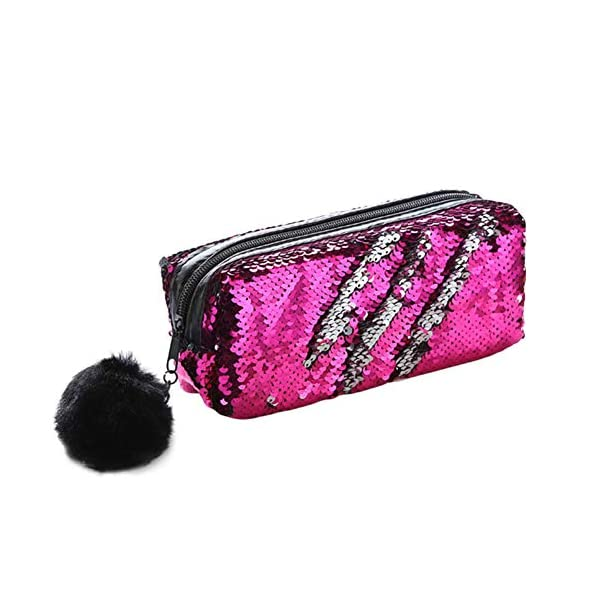 Climberty Fashion Sequin Hairball Pencil Case School Supplies BTS Stationery Gift Cute Pencil Box Pencilcase School Tools Pencil Cases