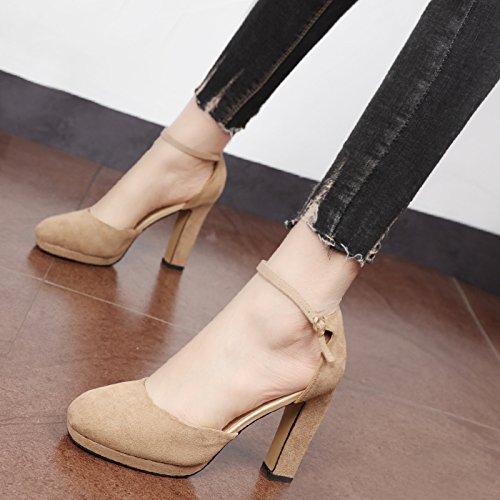 alta y y redonda Cabeza impermeable audaz Shoes Heel mujer luz Xue campo de sencillas Corte solo única para Color zapatos Crudo Qiqi elegantes de Zapatos la el wnCx7q61