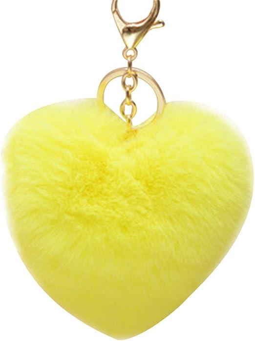 CTGVH - Llavero de pelota de pelo con colgante de bola, diseño de pompón, ideal como regalo para el coche, Amarillo, 10cm*12cm: Amazon.es: Hogar