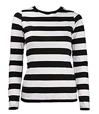 Adult Women's Long Sleeve Striped Shirt Black / White at Amazon ...