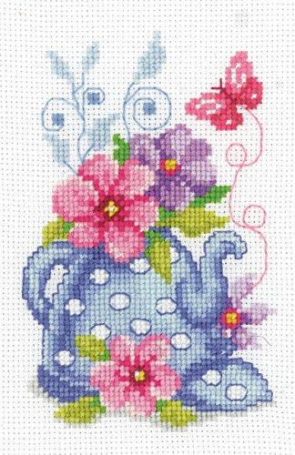 blue tea pot flowers cross