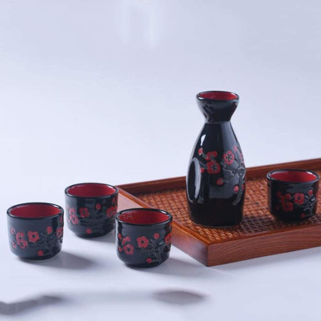 Sake Bottle CCJW 5 PCS Sake Set with Warmer Japanese Traditional Ceramic Mini Japanese Sake Sets with Sake Serving Bottle 4 Sake Cup And Warmer