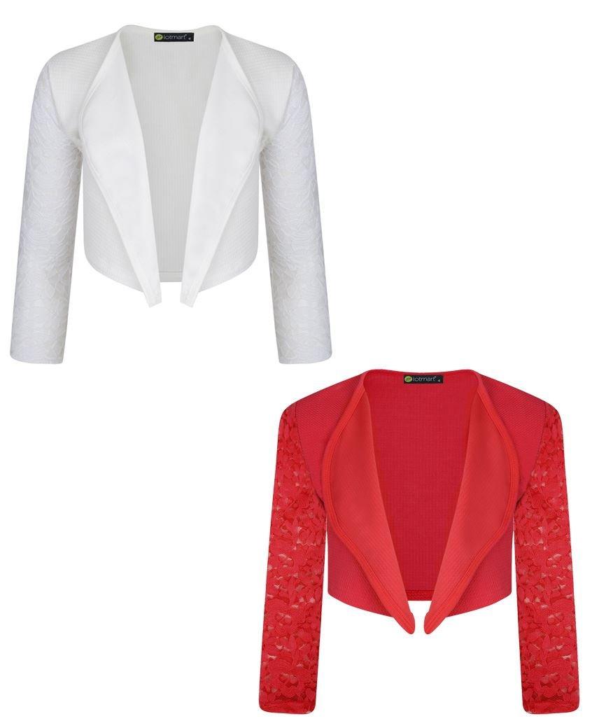 LOTMART Girls Long Lace Sleeve Open Front Bolero Jacket Cardigan 2 Pack Bundle