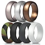 ThunderFit Silicone Rings, 7 Pack Wedding Bands for Men - 8.7 mm Wide (Camo, White, Dark Gray, Black, Brown, Dark Silver, Silver, 9.5-10 (19.8mm))
